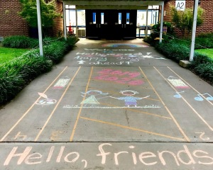 Photo of the Chalk Drawings Greeting Students on their First Day